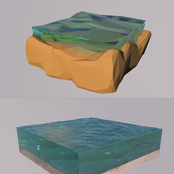 Low Poly Two lakes