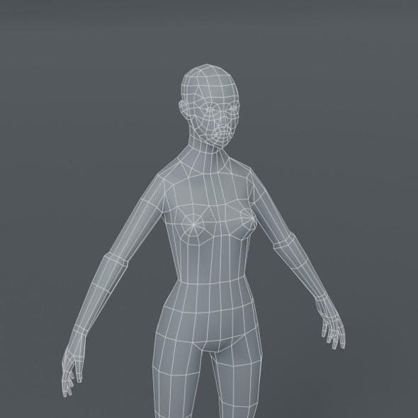 Female Body Base Mesh 3D Model 1000 Polygons