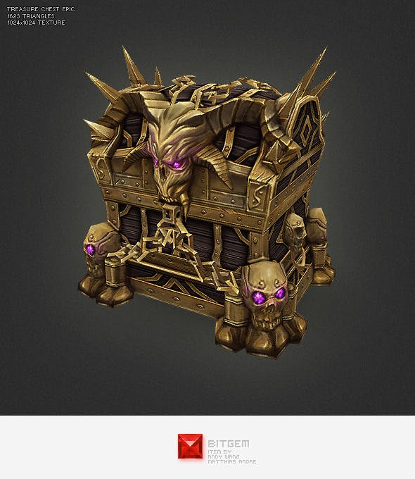 Low Poly Treasure Chest - Epic - 3DOcean Item for Sale