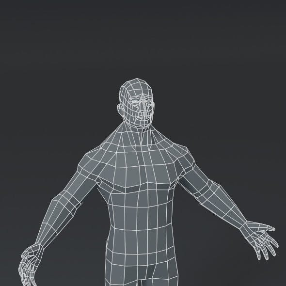 Superhero Muscular Male Body Base Mesh 3D Model 1000 Polygons