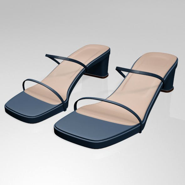 Low-Heel Square-Toe Sandals 01