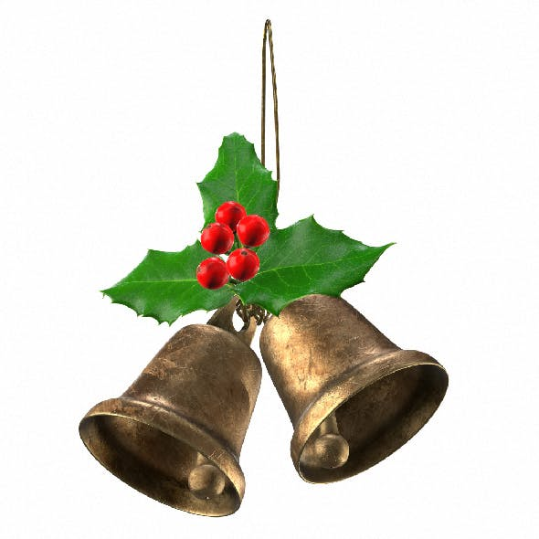 Holly berries with vintage christmas brass bells. 3D model with PBR textures.