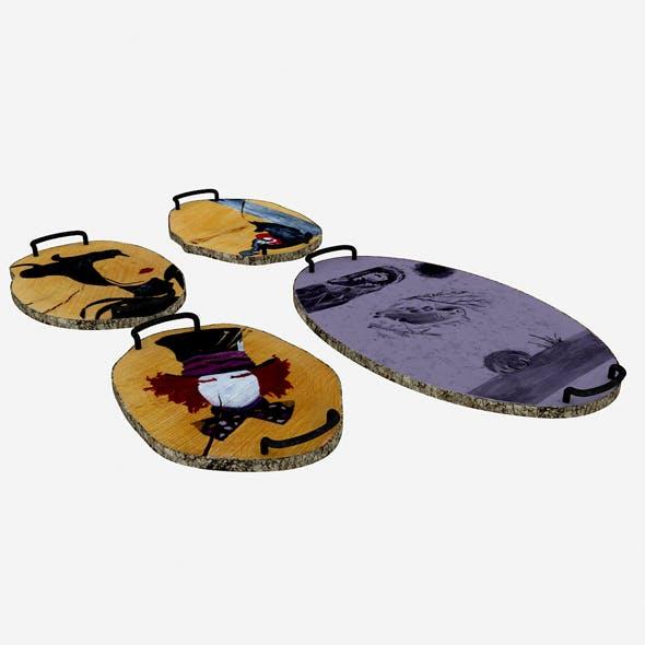 3D wooden trays model - 3DOcean Item for Sale