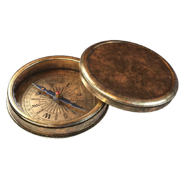 Vintage Brass Compass #2.  3D model with PBR textures.