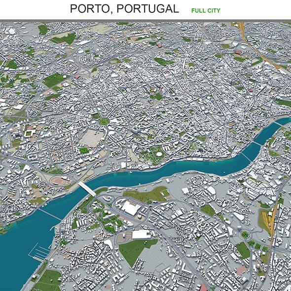 Porto city Portugal 3d model 40km