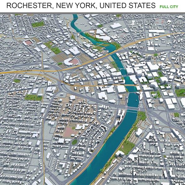 Rochester city New York United States 3d model 40km