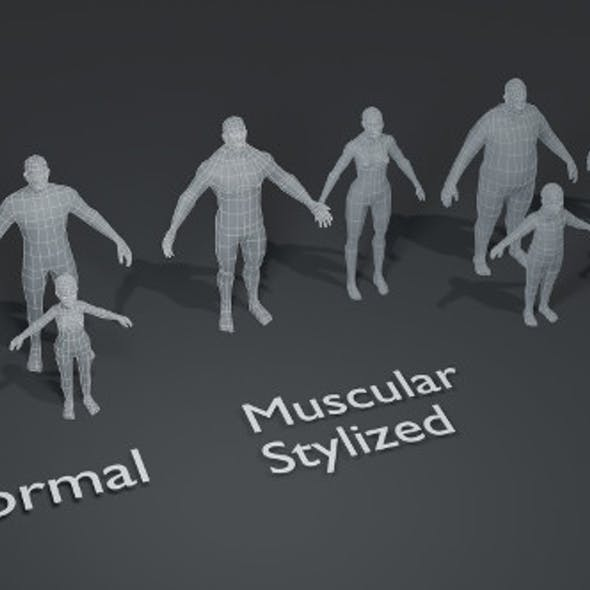 Human Body Base Mesh 10 3D Models Pack 1000 Polygons