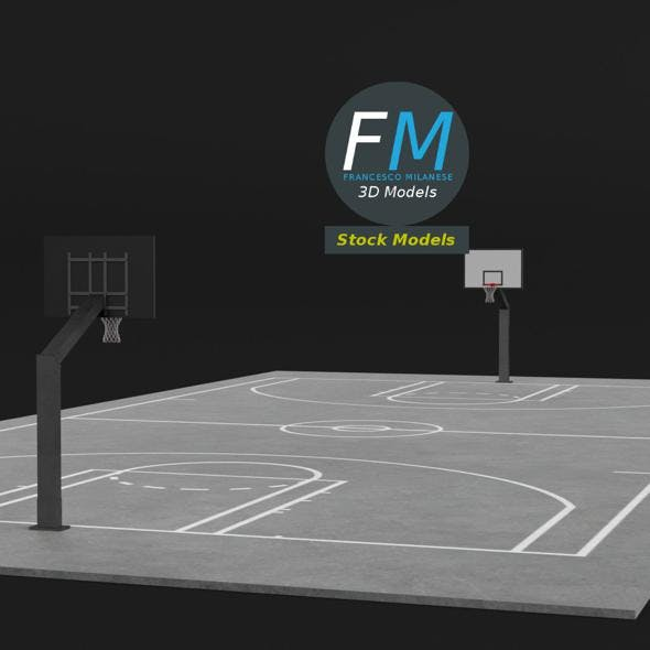 Outdoor basketball court - 3DOcean Item for Sale