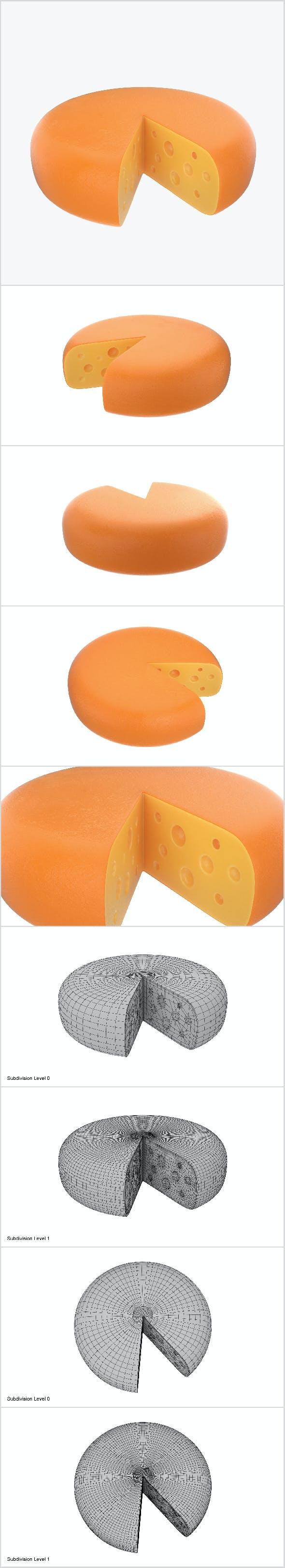 Cheese wheel sliced - 3DOcean Item for Sale