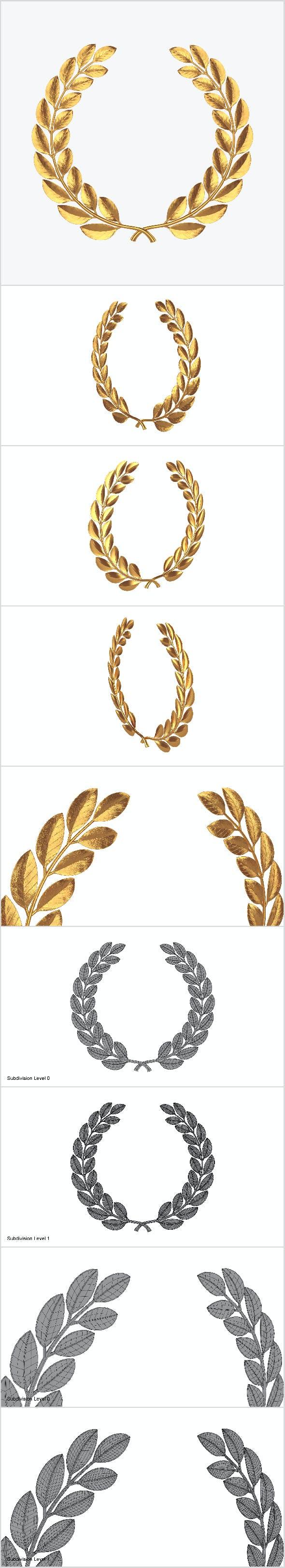Gold laurel wreath - 3DOcean Item for Sale