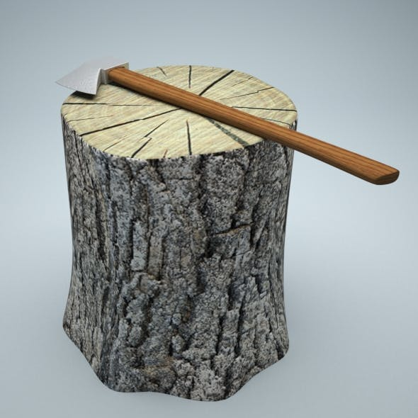 Tree Trunk and classic axe - 3DOcean Item for Sale