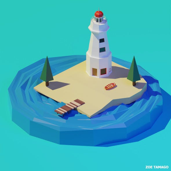 Isometric 3D Lighthouse by Zoe Tamago