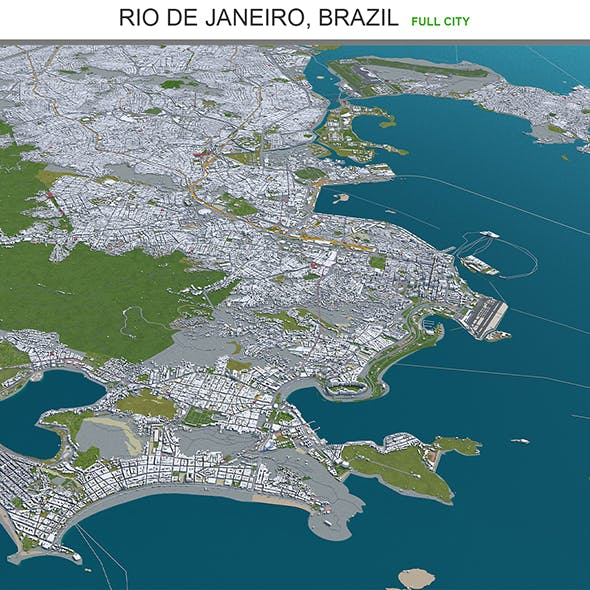 Rio de Janeiro city Brazil 3d model 80km - 3DOcean Item for Sale