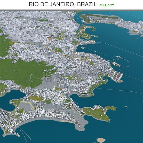 Rio de Janeiro city Brazil 3d model 80km