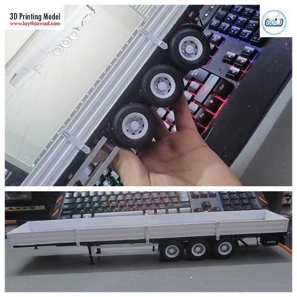 Heavy Lorry Trailer 3D Printing Model - 3DOcean Item for Sale