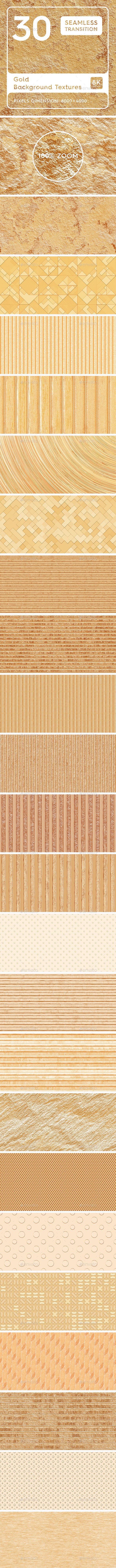 30 Gold Background Textures. Seamless Transition. - 3DOcean Item for Sale