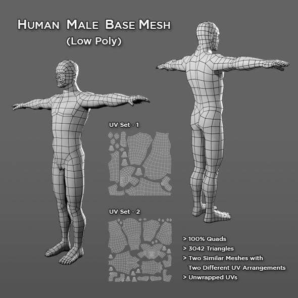 Human Male Base Mesh V2 - 3DOcean Item for Sale