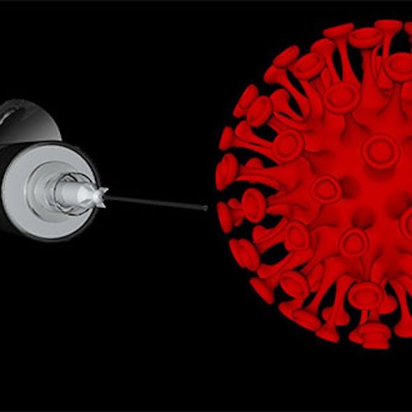 Covid 19 Virus and syringe