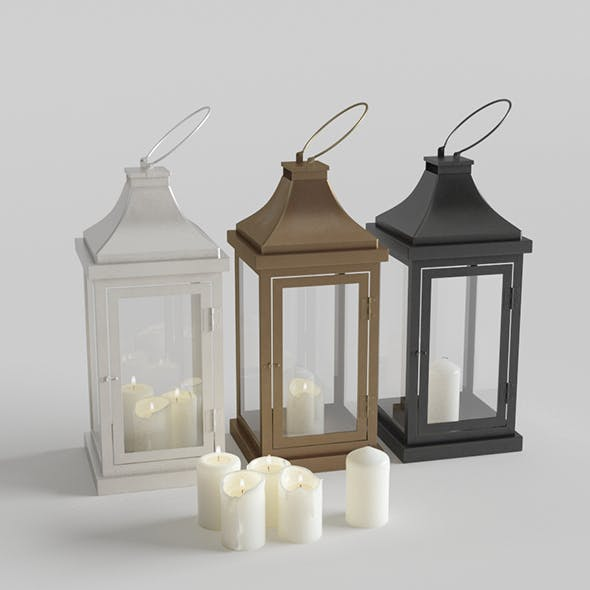 Outdoor Floor Lanterns with Candles
