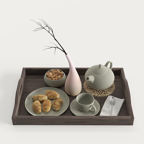 Wooden tray with breakfast on it
