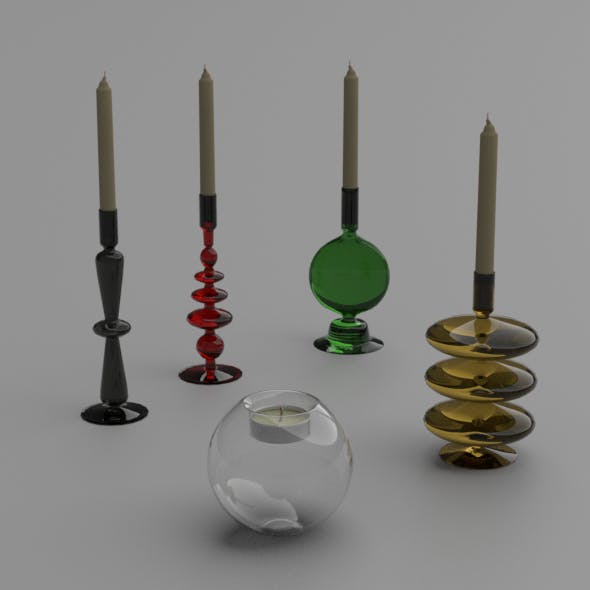 Glass candlesticks and candles