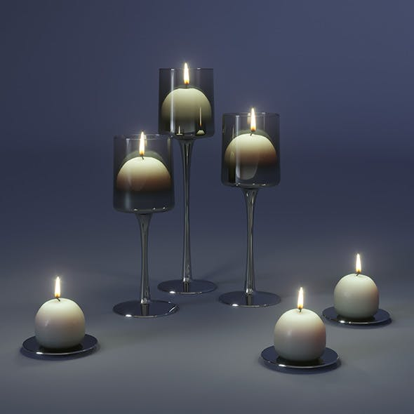 Candlesticks with candles - 3DOcean Item for Sale