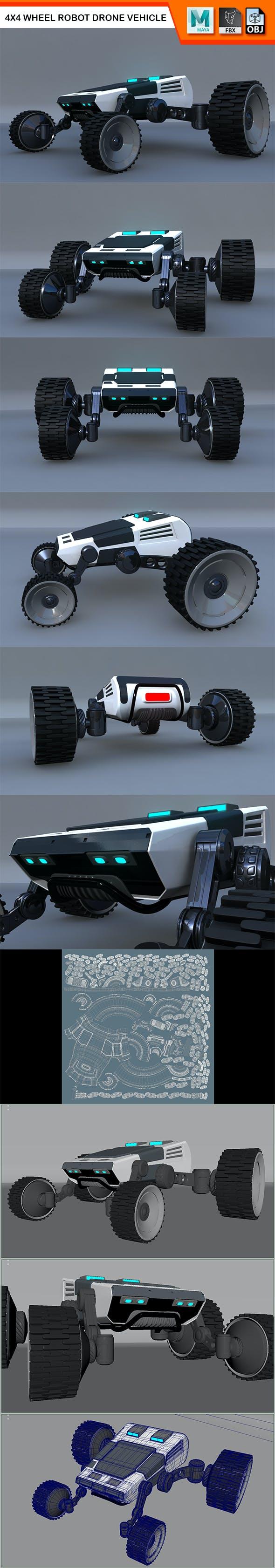 4X4 Wheel Robot Drone Model - 3DOcean Item for Sale