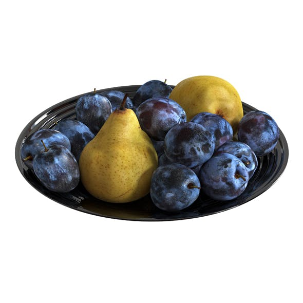 Plums and pears in a plate