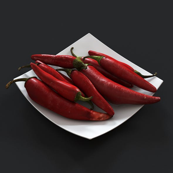 Сhili peppers on a white plate - 3DOcean Item for Sale