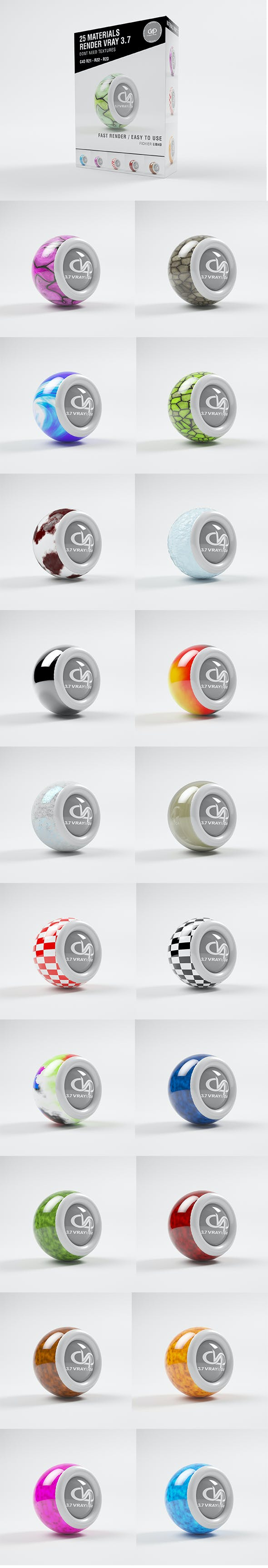 25 Materials CRAY 3.7 C4D - R20 / R21 / R22 / R23 - 3DOcean Item for Sale