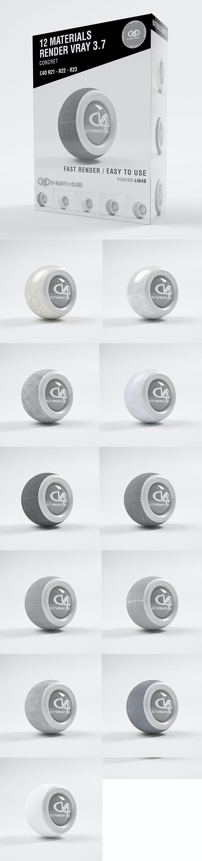 12 Concret Materials VRAY 3.7 C4D R20 / R21 / R22 / R23 - 3DOcean Item for Sale