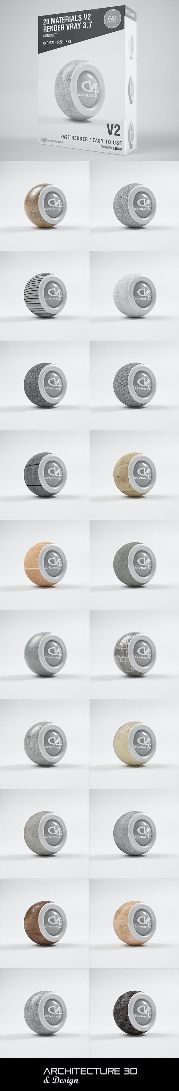 20 Concret Materials VRAY 3.7 C4D R20 / R21 / R22 / R23 - 3DOcean Item for Sale