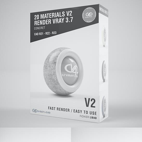 20 Concret Materials VRAY 3.7 C4D R20 / R21 / R22 / R23