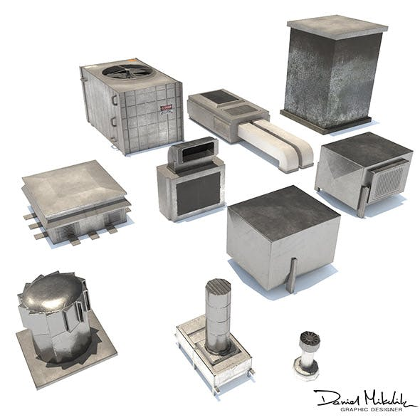 Aluminium Rooftop Elements PACK - 3DOcean Item for Sale