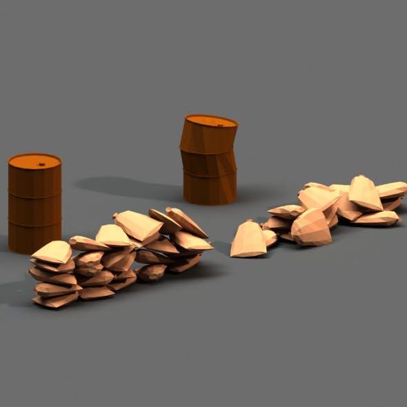 Post Apocalyptic Sandbags and Barrels