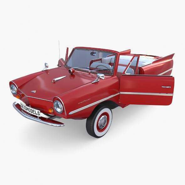 Amphicar 770 Red w Interior - 3DOcean Item for Sale