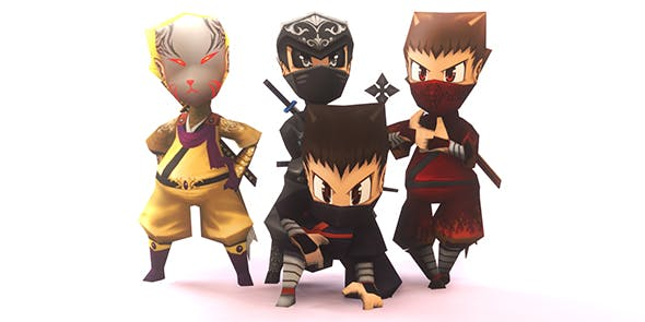 Low Poly and Hand Painted Ninja Character Ready for Game - 3DOcean Item for Sale