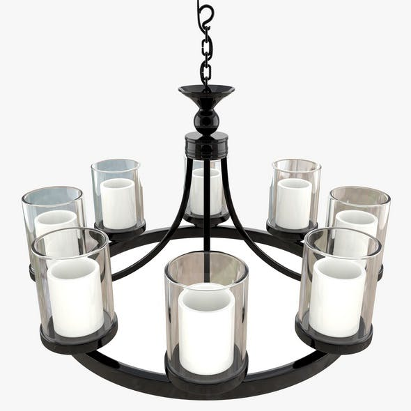 Candle Chandelier White Milk Glass - 3DOcean Item for Sale