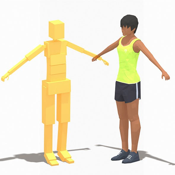 Low Poly Woman Exercise RIG