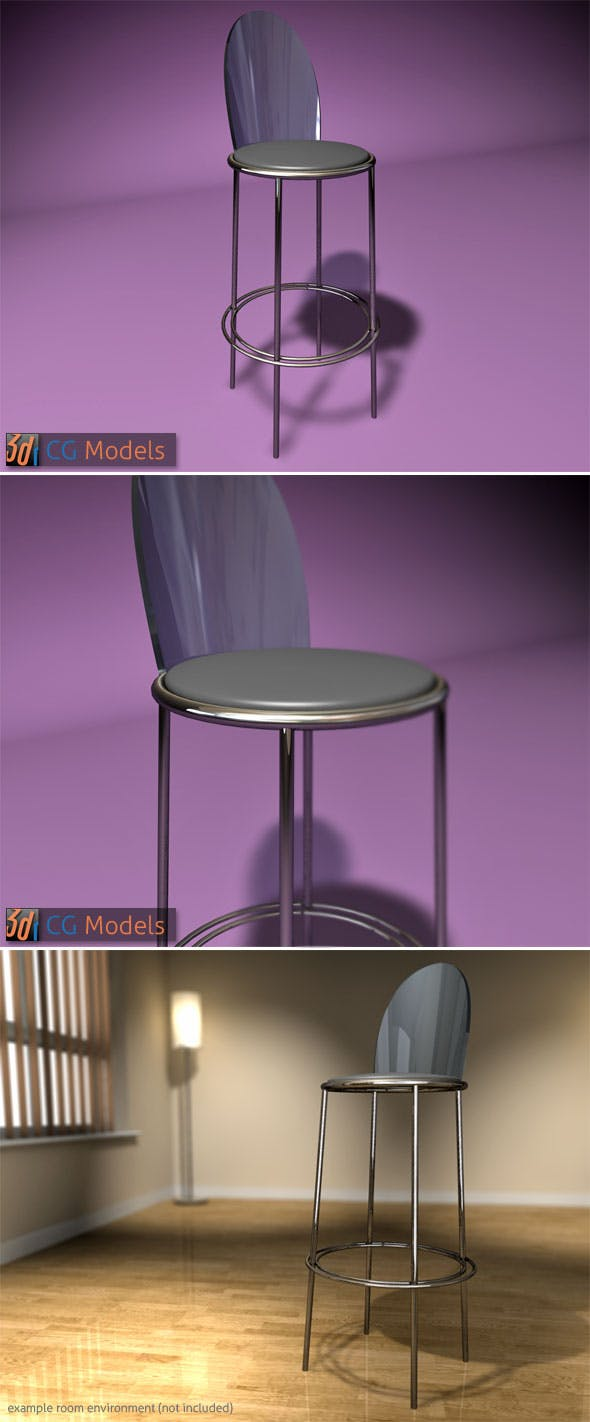 Contemporary Stool 06 - 3DOcean Item for Sale