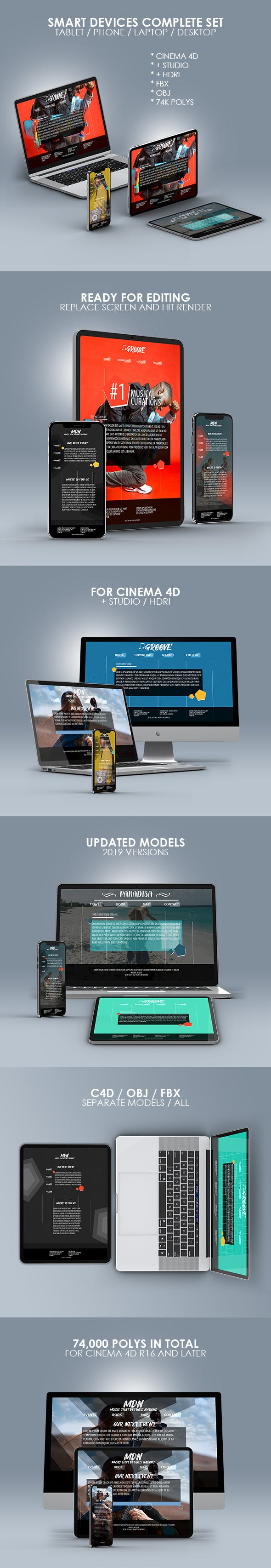 Smart Devices Complete 3D Models Pack - 3DOcean Item for Sale