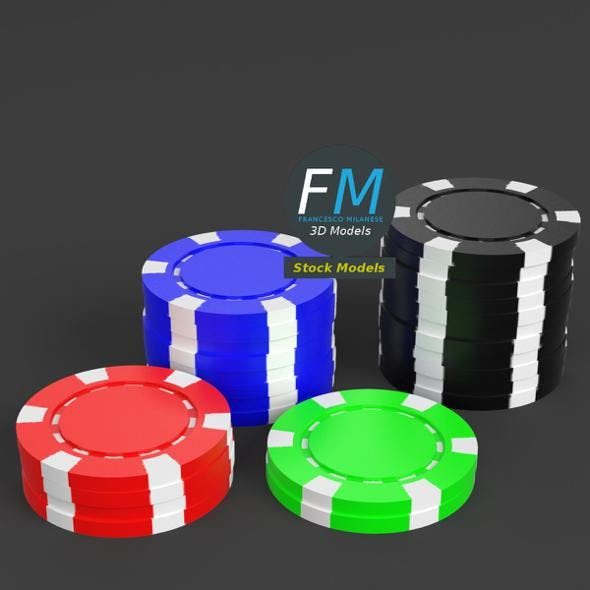 Casino tokens stacks - 3DOcean Item for Sale