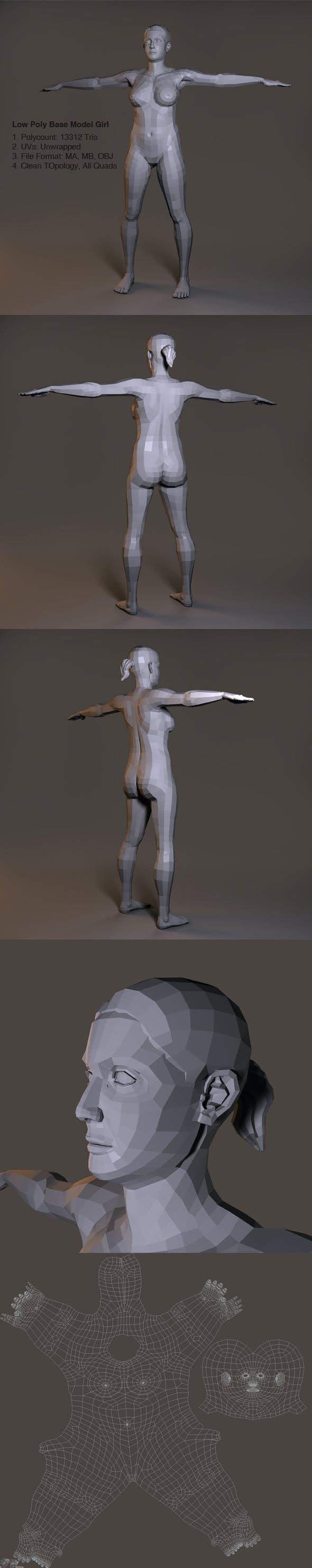 Low Poly Base Model Female - 3DOcean Item for Sale