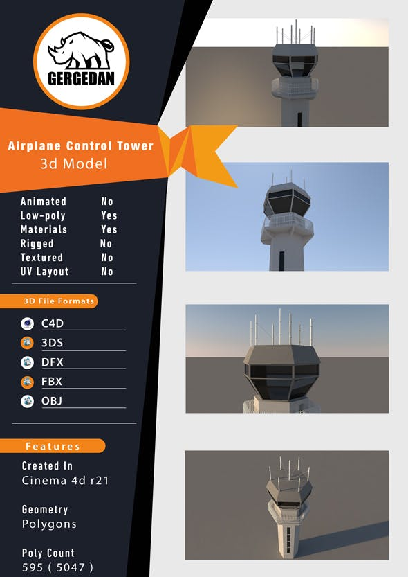 Airplane Control Tower - 3DOcean Item for Sale