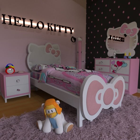 HELLO KITTY Bedroom Design (PINK) - 3DOcean Item for Sale