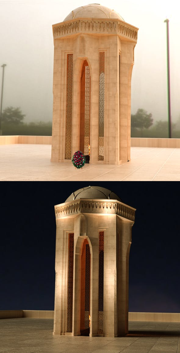 Shahidlar Monument 3D - Azerbaijan - 3DOcean Item for Sale