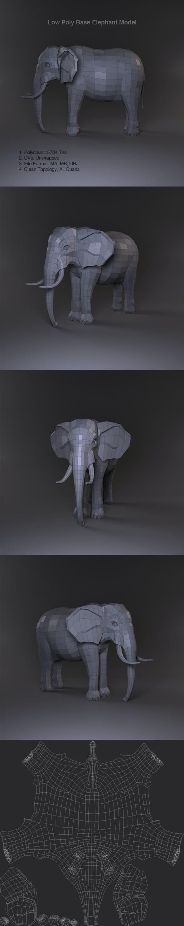 Low Poly Base Elephant Model - 3DOcean Item for Sale