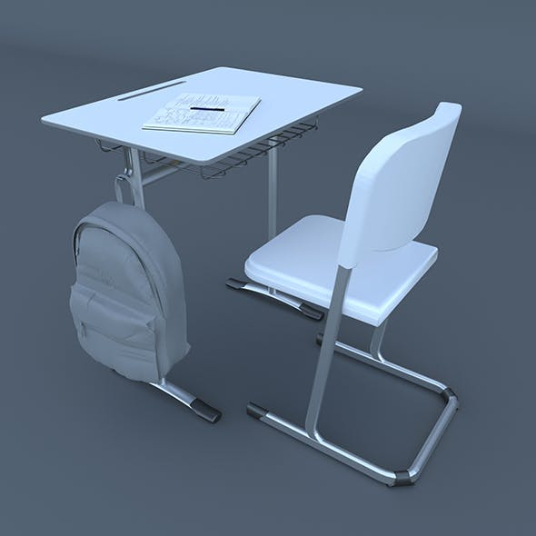 School Desk and Chair 3d model - 3DOcean Item for Sale