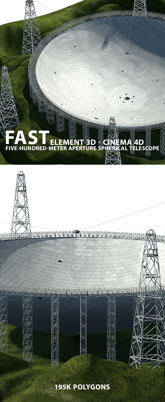 FAST Telescope 3D Model for Element 3D - 3DOcean Item for Sale