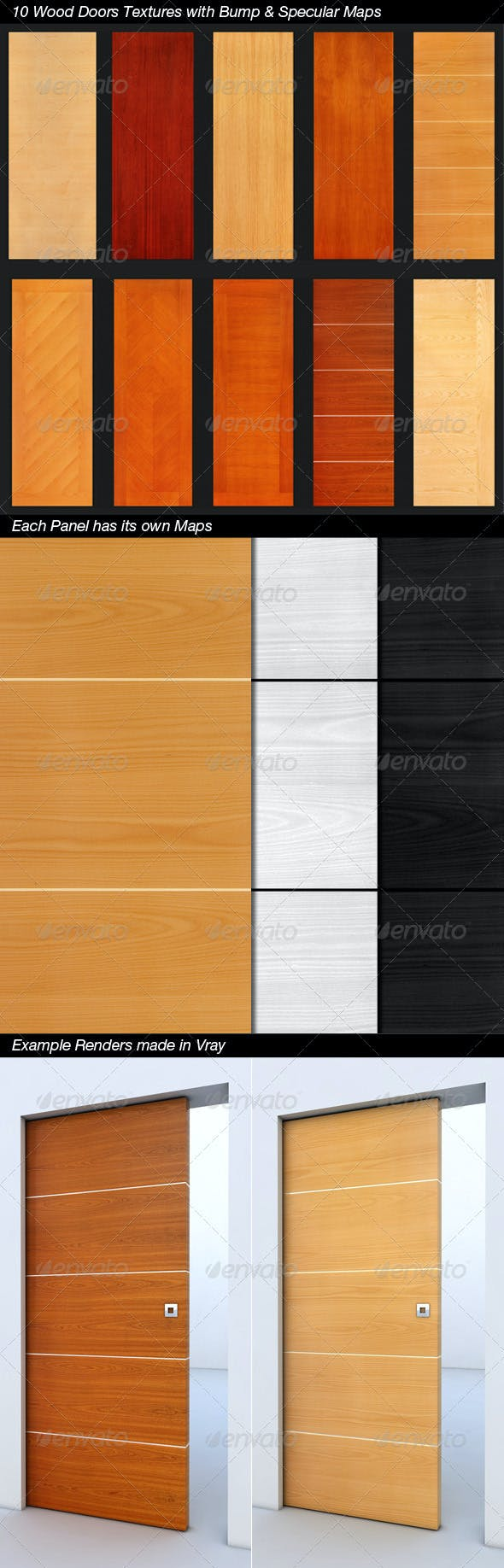 10 Wood Doors/Panels with Bump & Specular Maps - 3DOcean Item for Sale